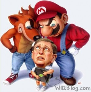 Mario and Crash Bandicoot towering over Bill Gates