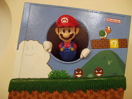 Mario jumping out of a Wii