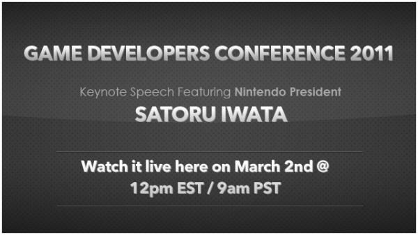 Live stream of Satoru Iwata's GDC 2011 presentation teaser image