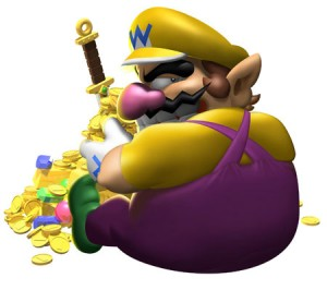 Wario with his gold